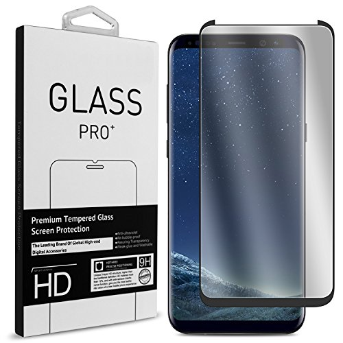 CoverON Galaxy S8 Tempered Glass Screen Protector - InvisiGuard Series [Guaranteed Case Friendly] Premium Curved 9H Anti-Bubble Anti-Scratch Slim Protector - Clear with Black Border