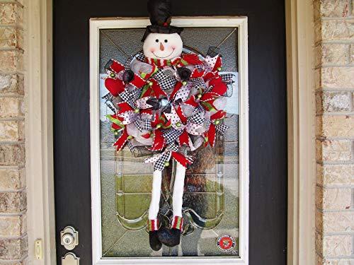 (Snowman Legs Hat Mittens Christmas Deco Mesh Front Door Wreath, Yard Decor, Porch Patio Party Decoration, Gift Indoor Outdoor Wall Yard Prop)