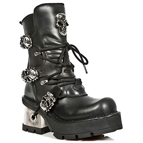 New Rock Women's Metallic Black Leather Boots M.1044-S1 (39 EU, BLACK) by New Rock Shoes (Image #1)