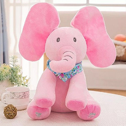 Plush toy peek-a-boo Elephant, Pink Musical Animated Flappy Ear Singing Elephant Cuddle Stuffed Toy for Baby Boy and Girl 12 Inch Tall Set of 1 ()