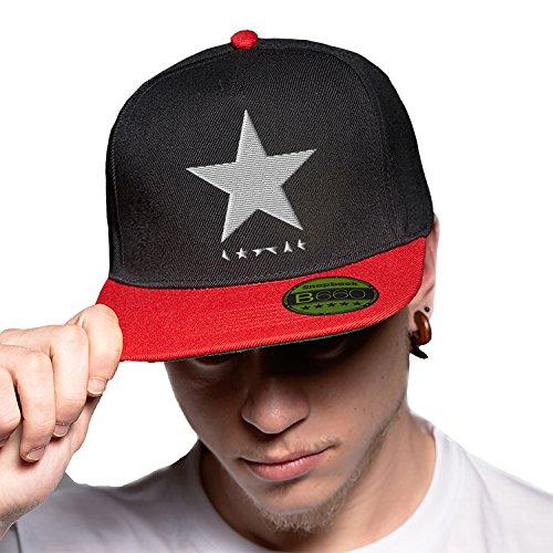 Black Star David Bowie White Black Red Cap Original Gorra Snapback Unisex, Ajustable, con Visera Plana y Logotipo Urbano Bordado.