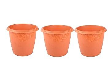 192 & Divine Tree Round Plastic Flower Pots Planters for Outdoor \u0026 Indoor Gardening Pack of 3(Terracotta4x4x3 inch)