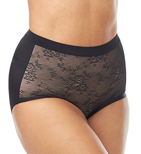 Olga Women's Plus Size Light Shaping Brief with Lace, Black, 9/2XL
