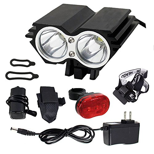 FirstRank 4000 Lumens CREE XML-T6 LED 4 Modes Super Bright Rechargeable Waterproof Bike Bicycle Cycling Front Head Light Headlight with Taillight for Camping,Cycling,Hiking,Riding,Outdoor Activities