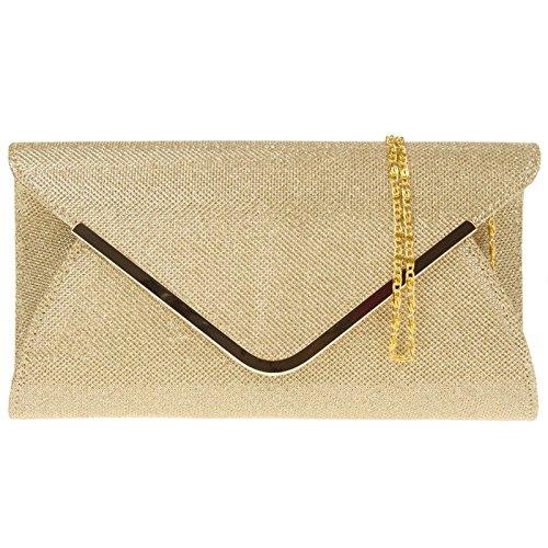 Ladies Designer Glitter Bridal Envelope Gold Zarla Party New Prom Evening Clutch Women Bag AccOqX