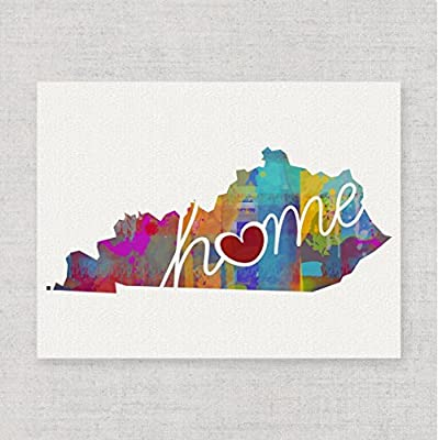 Kentucky Home - An Unframed 8x10 Modern & Whimsical State Pride Watercolor-Style Wall Art Print / Poster on Fine Art Paper