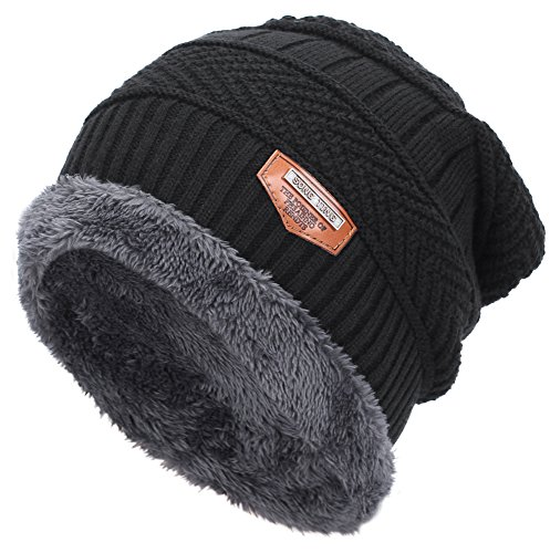 9cd08eccfff Mens Thick Warm Winter Fleece Lined Knit Beanie Hat Baggy Oversize Slouchy  Stocking Beanie Skull Cap