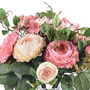 Ivalue 2PCS Artificial Rose Flower Arrangements Wedding Bouquets Silk Fake Flowers Plants for Home Decoration (B-Champage Pink, 2) 4