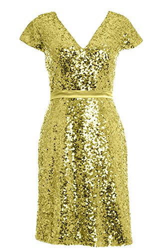 Light Formal Cap Bridesmiad Gown Cocktail Gold Elegant Sleeve MACloth Dress Party Sequin vwHF1nqa
