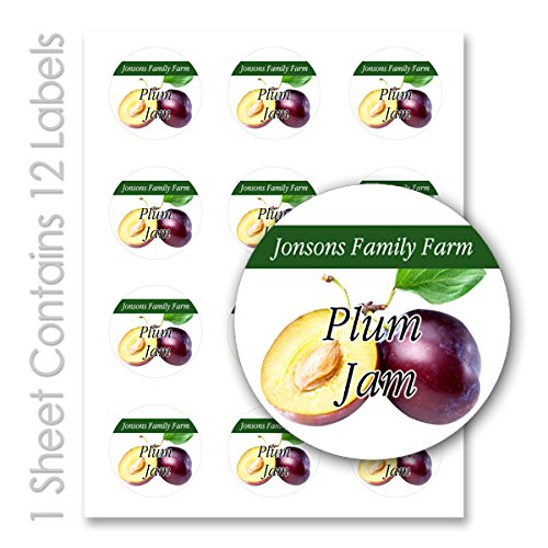 Fruit Jam Jelly Personalized Name Round Mason Jar Labels (Plum, 120 Labels on 10 Sheets)