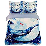 FJLOVE Kids Cartoon 3 Piece Bedding Set Boy and Girl Colorful Watercolor Blue Whale Oil Painting Cotton Duvet/Comforter Cover Set Teens Children,C,King