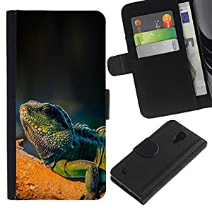 Billetera de Cuero Caso Titular de la tarjeta Carcasa Funda para Samsung Galaxy S4 IV I9500 / Cool Majestic Iguana Lizard / STRONG