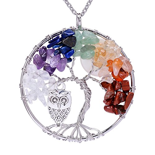Viola Tricolor Silver Plated Copper Tree of Life Pendant Necklace for Girls Handmade Cute Owl Full Moon Gemstone Healing Pendant Necklace Wire Wrapping Necklace ()
