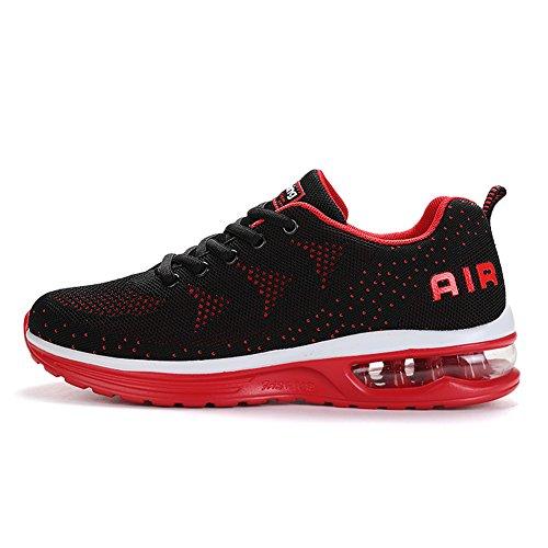 Sitaile Dames Heren Atletisch Walking Sneakers Casual Lichtgewicht Ademend Air Cushion Tennis Hardloopschoenen Zwart Rood