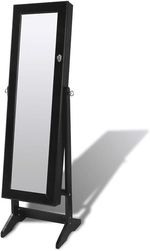 vidaXL Armoire à Bijoux sur Pied avec Miroir et éclairage LED Noir  Rangement Bijoux