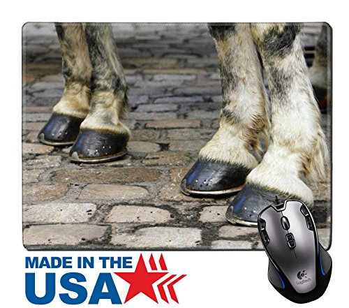 "MSD Natural Rubber Mouse Pad/Mat with Stitched Edges 9.8"" x 7.9"" Image with two pair of white horse hooves on a block pavement Christmas days in the old city Vienna Austria Central Europe Image ID 247 (Old Macs Horse Boot)"