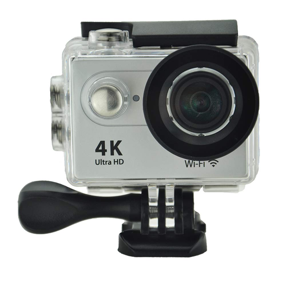 TOPmountain 4K Action Camera Wasserdichte Sportkamera, 12Mp Outdoor-Videokamera-Sportkamera - Silbernes Grau