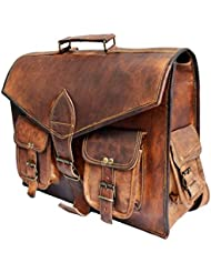 15 Genuine distressed Leather Vintage Laptop Backpack Shoulder Messenger Bag Convertible Briefcase