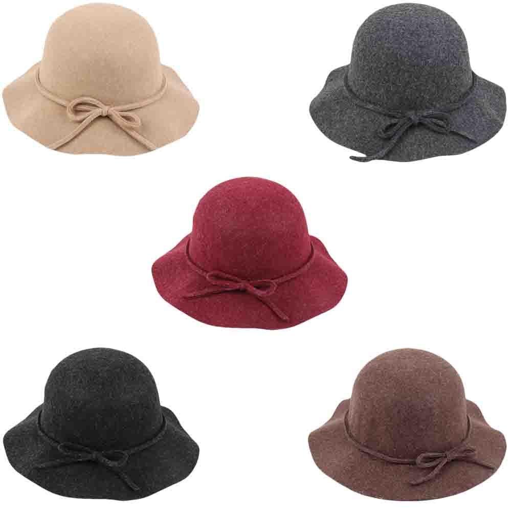 CHUANGLI Vintage Ladies Floppy Wide Wave Brim Wool Felt Fedora Cloche Hat Cap Coffee