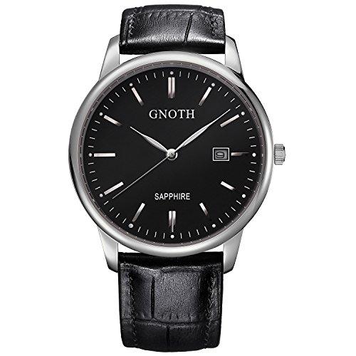 GNOTH Unisex Black Minimalist Sapphire Leather Watch Ultra Thin with Date Elegant