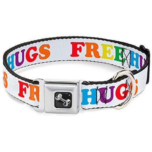 Buckle Down Seatbelt Buckle Dog Collar - FREE HUGS White/Multi Color - 1