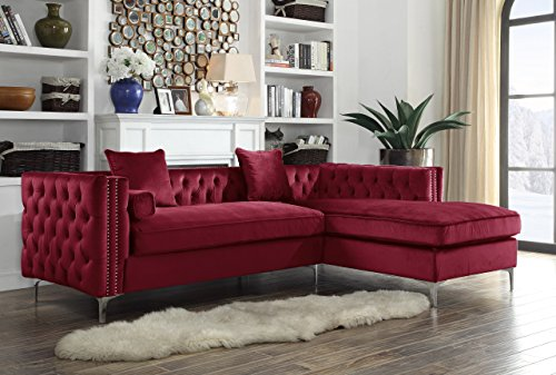 Sofa Metal Traditional (Iconic Home Da Vinci Right Hand Facing Sectional Sofa L Shape Chaise Velvet Button Tufted with Silver Nail Head Trim Silvertone Metal Y-Leg with 3 Accent Pillows, Modern Contemporary, Red)