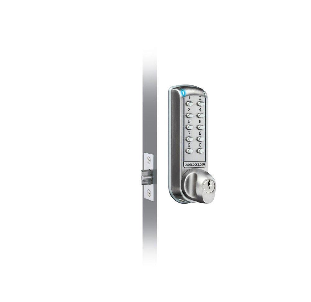 Codelocks CL2255-BS Electronic Tubular Mortise-Style Keypad Door Lock, Brushed Steel