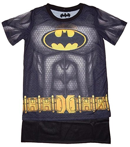 [Batman Youth Boys Sublimated Cape Costume T-shirt (Medium)] (Baseball Bat Man Costume)
