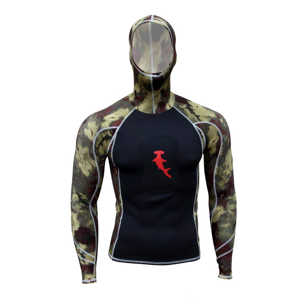 Hammerhead Spearguns - Ambush Long Sleeve Rashguard w/Hood - HH Camo Green - X-Large by Hammerhead Spearguns