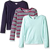 Limited Too Little Girls' 3 Pack: Long Sleeve Tee Shirts, Peacoat Stripe/Mint Frost/Peacoat, 4