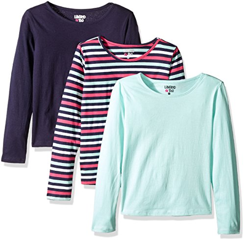 Limited Too Little Girls' 3 Pack: Long Sleeve Tee Shirts, Peacoat Stripe/Mint Frost/Peacoat, 4 by Limited Too (Image #1)