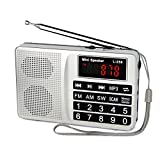 TIVDIO L-258 Portable AM FM Radio Shortwave Transistor Digital Display Support Micro-SD Card USB Driver AUX Input MP3 Player Speaker Rechargeable Li-ion Battery(Silver)