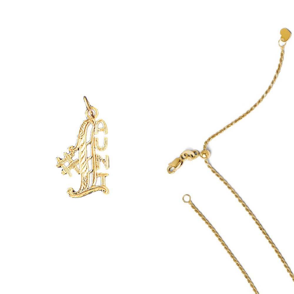 14K Yellow Gold #1 Aunt Pendant on an Adjustable 14K Yellow Gold Chain Necklace