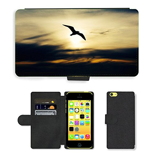 PU Leather Cover Custodia per // M00421602 Seabird Nature Oiseau Mouette animale // Apple iPhone 5C