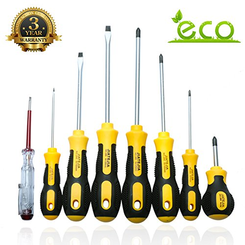 Screwdriver Set Professional Repair Tool Kit Magnetic Driver Kit 8 Pieces Phillips and Slotted Magnetic Screwdriver Micro Fine Grip Non-Slip Rust Resistant, Ergonomic Fluted Craftsman Toolkit