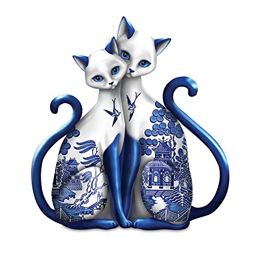 Blue Willow Inspired Porcelain Figurine: Purr-ecious Blessing Of Two Lovers by The Hamilton Collection (Porcelain Cat)