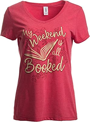 Ann Arbor T-shirt Co. Weekend Is All Booked   Funny Cute Book Reader Reading Women's V-Neck T-Shirt
