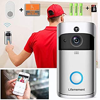 Wireless Video Doorbell, WiFi 720P Doorbell Camera, Two-Way Audio/Video Night Vision Motion Detectio/Realtime Push Alerts Watchdog, No Monthly Fee with Indoor Chime, Included Batteries, 16GB TF Card