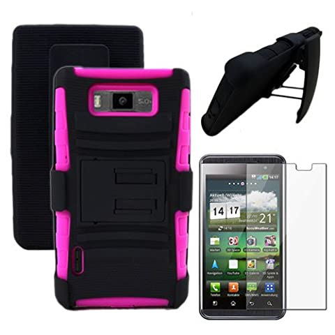 MINITURTLE, 2 in 1 Premium Hybrid Protective Armour Shell Hide Phone Case Cover with Built in Kickstand and Swiveling Belt Holster Carrying Clip for Prepaid Straight Talk LG Optimus Showtime L86C / L86G (Verizon) - Screen Protector Film Guard Included (Black / (Phone Cases For Lg L86c Optimus)