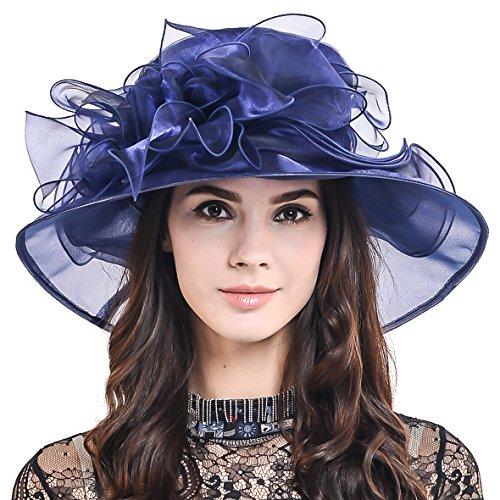 Ladies Kentucky Derby Church Hat Wide Brim Leaf Flower Bridal Dress Hat s037 (Plain-Navy) ()