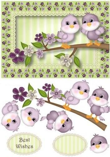 Spring Flowers Birdie Birthday by Anne Lever