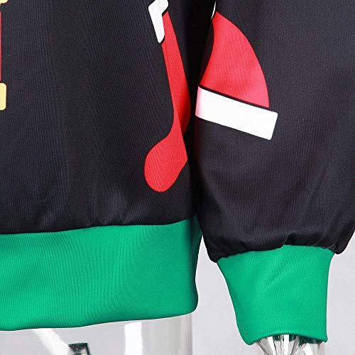 Top Lunga Stampa Girocollo Donna Elegante Da Abbigliamento Maglione Felpa Nero Camicetta Manica Inverno Con Autunno Camicia Casual qxTAZw
