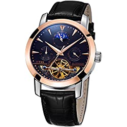 TSS Men's Automatic Skeleton Moonphase Watch Leather Band T8030PM2