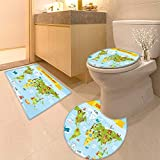 HuaWuhome 3 Piece Extended Bath mat Set Funny Coon World map with People of Various Nationalities and Animals Widen