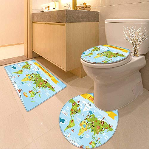 HuaWuhome 3 Piece Extended Bath mat Set Funny Coon World map with People of Various Nationalities and Animals Widen by HuaWuhome