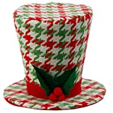 "RAZ Imports - Holly And Houndstooth - 5"" Red Green & White Top Hat Decoration"