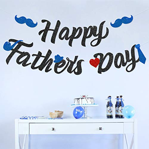 Glitter Happy Father's Day Banner Dad's Papa's Day Party Ideas 2019 Newest Big Family Photo Booth Props Mustache Bash Necktie Hat Red Mazarine Black Decoration Backdrop Supplies No DIY Required -