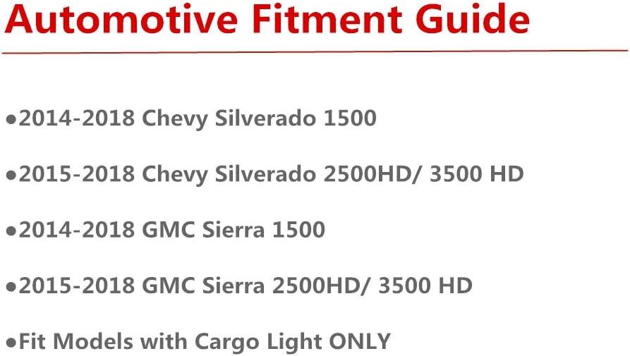 For 2014-2018 Chevy Silverado//GMC Sierra 1500 2500HD 3500HD Third Center Cargo Reverse Rear LED Brake Light Bar Taillight High Mount 3rd Stop Light Assemblies Red