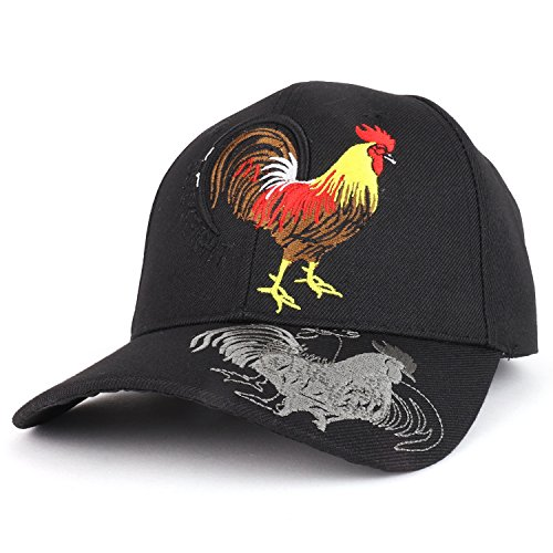 - Trendy Apparel Shop Rooster Cock Fight Embroidered Structured Baseball Cap - Black