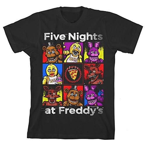 Five Nights at Freddy's Character Squares Boys Youth T-Shirt Licensed FNAF (Medium) Black